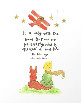 The Little Prince and the Fox are sitting next to each other.